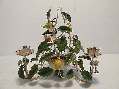 Vint LEMONS TOLE CANDLE HOLDER CENTERPIECE Candolier Shabby Hand Ptd Metal Italy