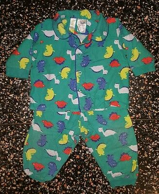 BABY BOYS Sz 0 green DYMPLES winter pajamas CUTE PJ'S! DINOSAURS!