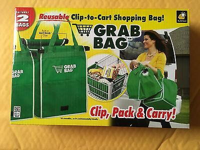 4 Pack Grab Bag Clip-to-Cart Shopping Bag As Seen On TV ---NEW!!