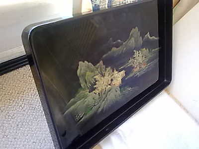 Vintage Cocktail Room Drinks Serving Tray Pagoda Japan Lacquer