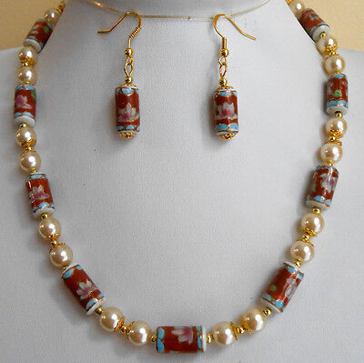 Hand Painted Vtg Cloisonne Porcelain Ceramic Pearls Beads Necklace Earrings S5
