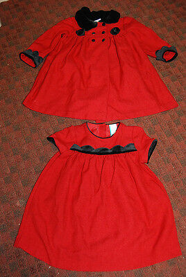 """Lovely Vintage """"little Bitty"""" 24 Mos Toddler Girl's 2 Pc Outfit: Dress & Coat"""