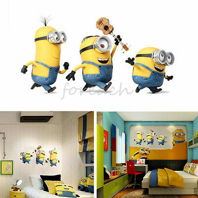 Cartoon Removable Wall Stickers Decal Despicable Me Minions Kids Room Home large