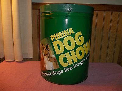 Vintage Purina Dog Chow Lidded Tin Advertisin Helping Dogs Live Longer-Pictures