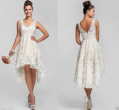 2017 V Neck Short Lace High Low Beach Wedding Dresses Bridal Gown Size Custom