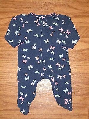 Carter's Baby Girl 6 Month Cotton Footed Zipper Sleeper Butterfly Navy Blue EUC