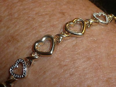 """10K Solid Yellow And White Gold """"hearts"""" Bracelet With Diamond Accents - 4 G"""