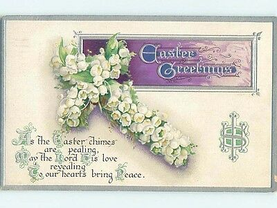 Pre-Linen easter religious JESUS CROSS MADE OF LILY OF THE VALLEY FLOWERS HL0954