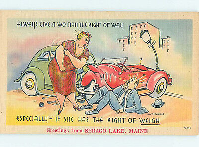 Linen comic signed CHUBBY WOMAN HAS THE RIGHT OF WAY - WEIGH WEIGHT JOKE HJ2023