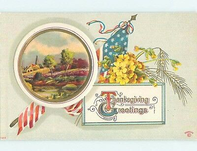 Pre-Linen thanksgiving patriotic LARGE USA FLAG WITH FLOWERS AND RIVER HL1761