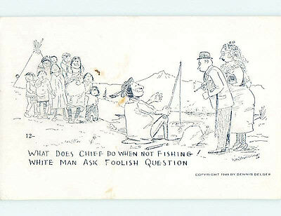 Pre-1980 comic signed NATIVE INDIAN CHIEF AT THE FISHING HOLE HJ2117