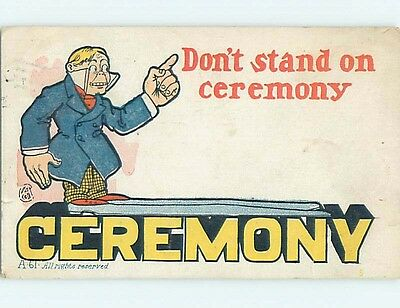 Pre-1907 exaggeration MAN WITH VERY BIG SHOES STANDS ON THE WORD CEREMONY HL2148