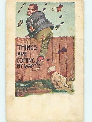 Pre-Linen comic DOG CHASES HOBO MAN BEING PELTED WITH GARBAGE HL2658