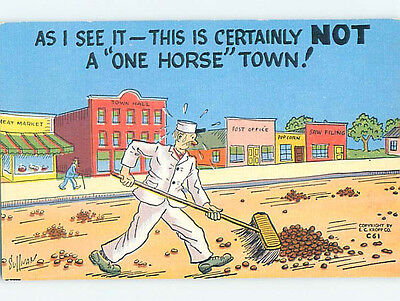 Linen comic signed NOT A ONE HORSE TOWN - CLEANING UP HORSE CRAP HJ1959