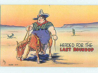 Linen comic signed FAT COWGIRL WOMAN WRITING EXHAUSTED HORSE HJ2141-12