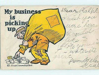 Pre-1907 comic HOBO PICKING UP GARBAGE FROM THE GROUND HL2155
