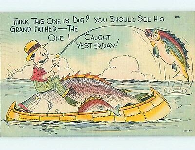 Linen comic exaggeration FISHERMAN CATCHES HUGE FISH WHILE FISHING HL3342