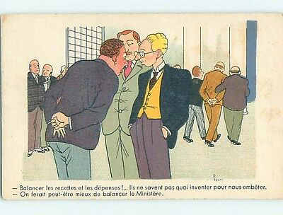 Pre-Linen foreign signed COMIC - FRENCH BUSINESSMEN IN SUITS TALKING HL8123