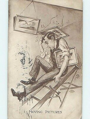 Pre-Linen movie reference MOVING PICTURES - MAN BREAKS FRAMED PICTURES HL2967
