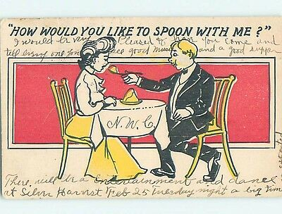 Pre-1907 comic SPOON WITH ME - MAN SPOON FEEDS WOMAN AT RESTAURANT HL2109