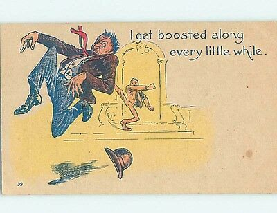 Pre-Linen comic MAN GETS KICKED IN THE BUTT AND LOSES HAT HL2581