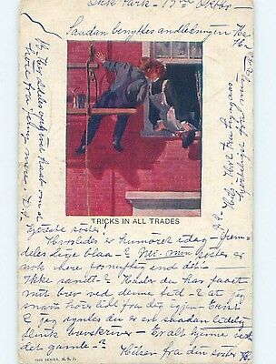 Pre-1907 comic MAN PAINTING BUILDING LOOKS THROUGH THE WINDOW HL2159