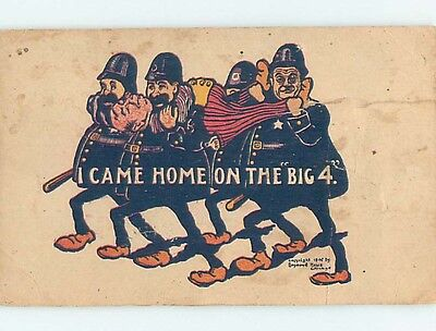 Tape On Back c1910 alcoholism comic POLICE OFFICERS CARRY DRUNK COMMAND HL2335