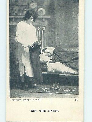 Pre-Linen GET THE HABIT - WIFE TAKES WALLET FROM SLEEPING HUSBAND'S PANTS HL3049
