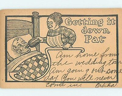Pre-1907 comic TEMPERANCE - WOMAN GIVES ALCOHOL BOTTLE TO MAN IN BED HL2060