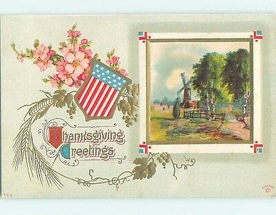 Pre-Linen thanksgiving patriotic USA FLAG SHIELD WITH FLOWERS & WINDMILL HL1788