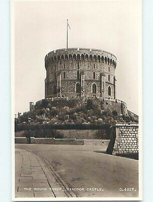 old rppc royalty ROUND TOWER AT WINDSOR CASTLE IN ENGLAND UK HM0976