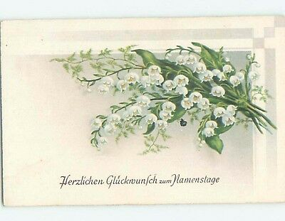 Pre-Linen foreign BEAUTIFUL LILY OF THE VALLEY FLOWER BOUQUET HL7445