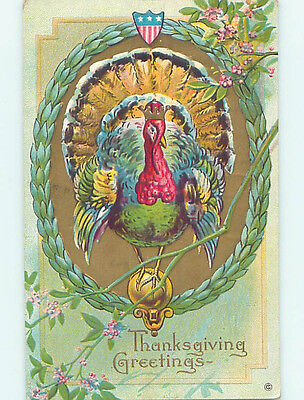 Pre-Linen thanksgiving patriotic USA FLAG SHIELD AND TURKEY WEARING CROWN HQ7696