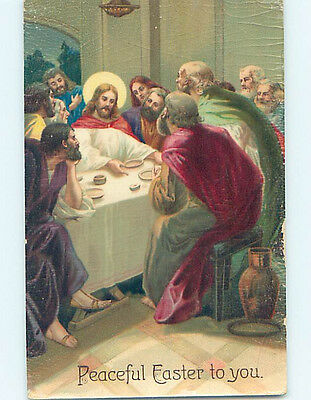 Pre-Linen easter religious ALTERNATE VIEW OF JESUS AT THE LAST SUPPER hr2574