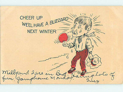 Pre-Linen comic SWEATING MAN IS HOT - CHEER UP - BLIZZARD NEXT WINTER HQ8563