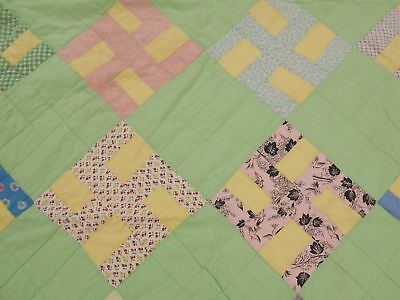 SOFT Vintage Antique 1930s FEEDSACK Fabric PEACE & HARMONEY Cotton Quilt 83x70