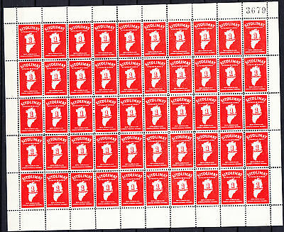 GREENLAND SAVING STAMP #4 one Krone full sheet of 50 mint never hinged