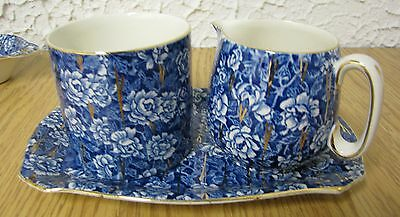 Vintage blue & gold chintz creamer & sugar set on plate Lord Nelson ware