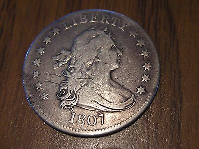 1807 Draped Bust Quarter, Great detail h h scratched on it see pics