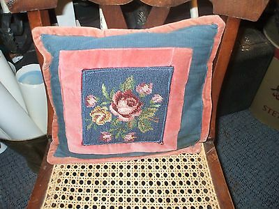 Small Needlepoint Roses Floral Covered Throw Pillow Vintage 12x12