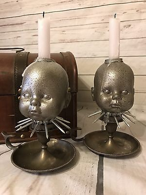 Doll Head Candle Holders, Gothic Doll Heads, Weird Dolls, Halloween, Altered