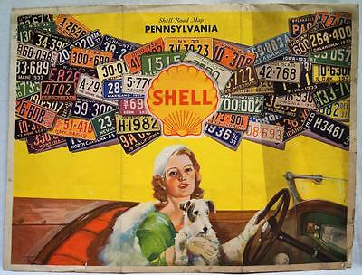 Shell Oil Service Station State Of Pennsylvania Highway Road Map 1933 Vintage