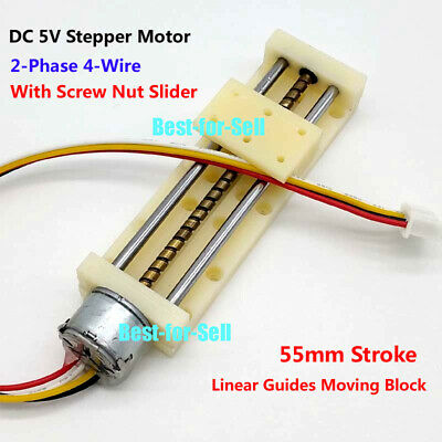 DC 5V-12V 2-Phase 4-Wire Drive Stepper Motor Linear Screw With Nut Slider Block