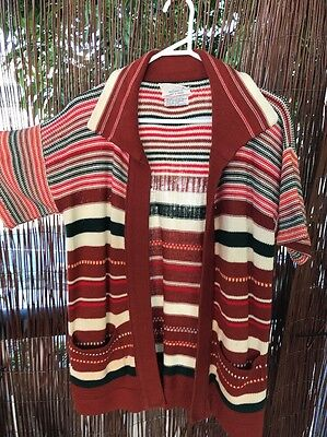 Striped Cardigan With Pockets & Collar Vintage Sweater Jumper Pullover
