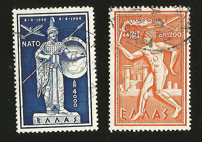 1954 Greece 5Th Ann Of Nato Protection Torchbearer & Pallas Athene Airmail Stamp