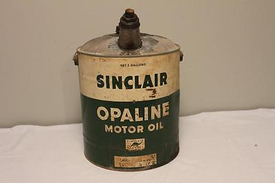 Vintage 1950's 5 Gallon Sinclair Opaline Motor Oil Advertising Can Pail