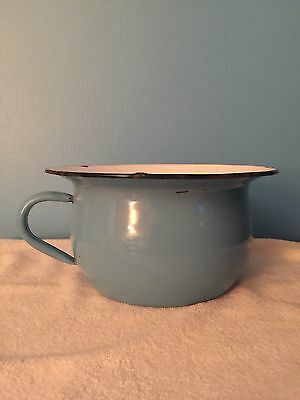 Antique Blue & White Enamelware Chamber Pot With Handle Vintage Porcelain