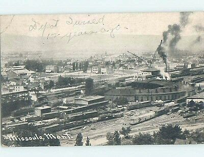 Divided-Back TRAIN YARD AND STATION DEPOT Missoula Montana MT A5582
