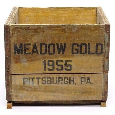 1955 Vintage Meadow Gold Wooden Milk Crate, Pittsburgh Pennsylvania Porch Decor