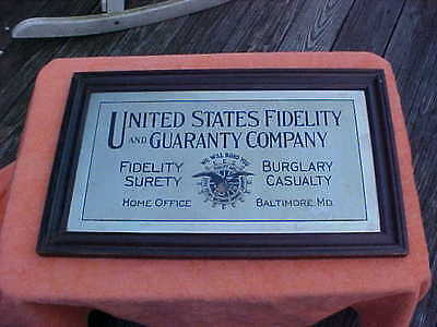 Antique sign United States Fidelity and Guaranty Insurance Co. framed sign